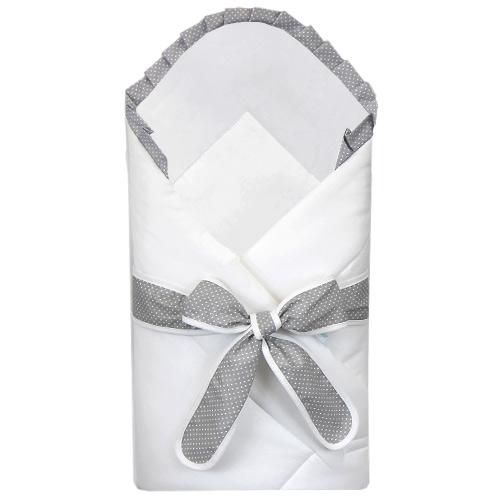 Babyrenka Zavinovačka 80x80 cm s mašlí bílá Dots grey