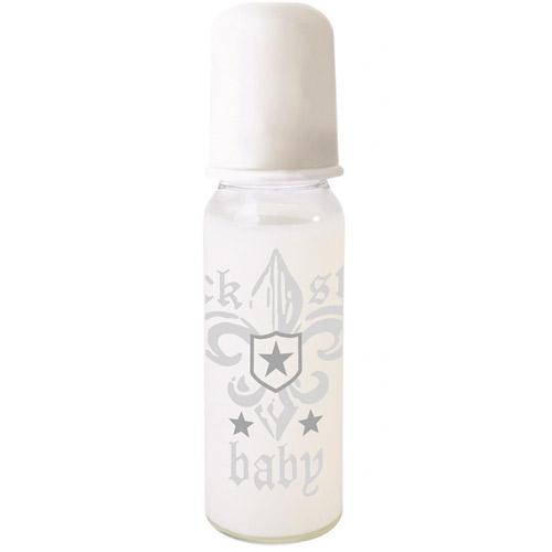 Rock Star Baby kojenecká lahev 250ml polypropylen bílý potisk 90070