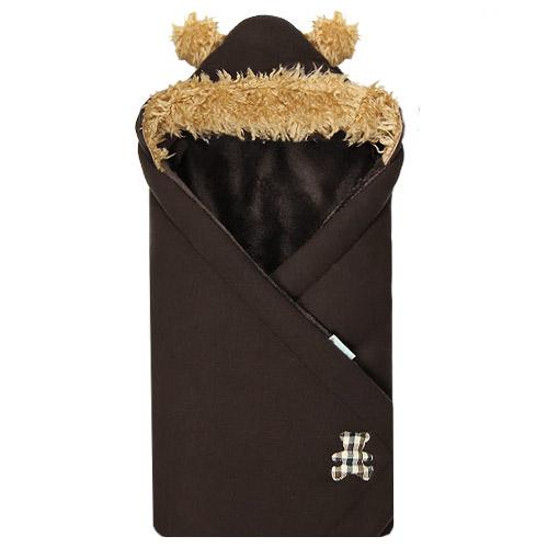 Babyrenka zavinovačka 85 x 85 s kapucí Animals Méďa hnědý R85MH0349