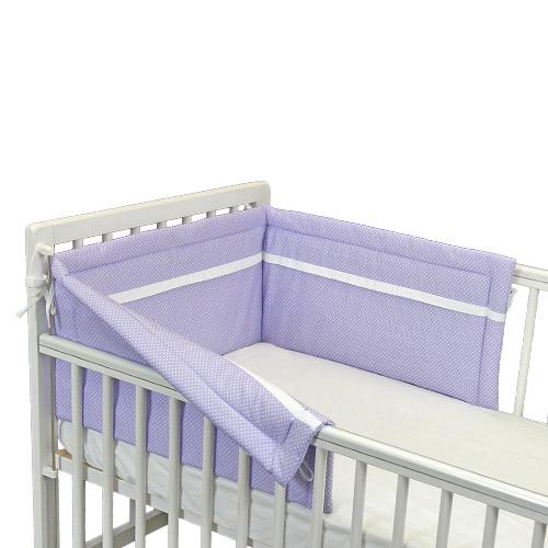 Babyrenka ochranný límec do postýlky 180 cm Duo Dots lila LD180L264