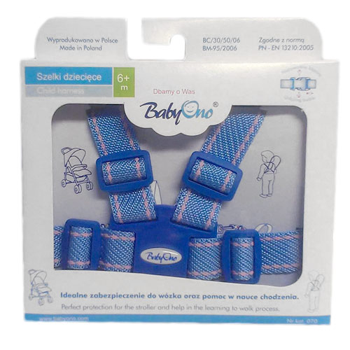BabyOno dětské kšíry do kočárku vodící světle modré BO070SM
