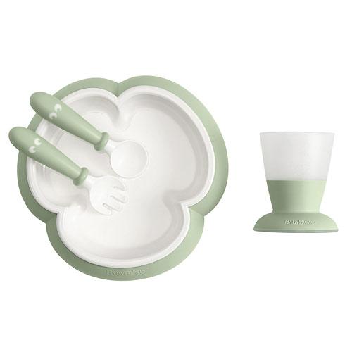 Baby Björn dětský jídelní set 4 dílný pudrově zelený 60-078161A