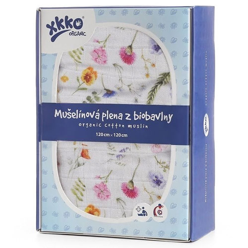 Xkko biobavlněná plena 120x120 Organic Summer Meadow ORG12008