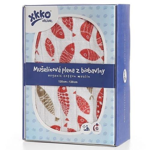 Xkko biobavlněná plena 120x120 Organic Golden Fish ORG12003