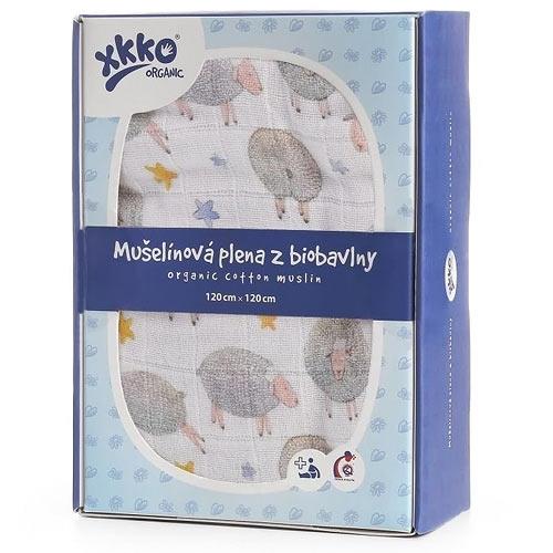 Xkko biobavlněná plena 120x120 Organic Dreamy Sheeps ORG12009
