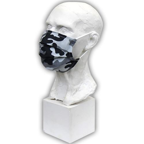 Babyrenka Bavlněná rouška s kapsou na filtr na gumu Maskáč šedá BRFGMS43