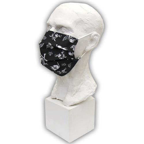 Babyrenka Bavlněná rouška na gumu s kapsou na filtr 18x10 cm Piráti černá BRFGPC43