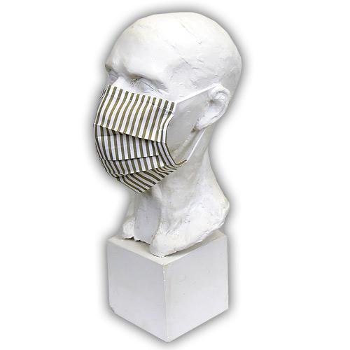 Babyrenka Bavlněná rouška na gumu s drátkem a kapsou na filtr 18x10 cm Stripes natur BRDKG-SN