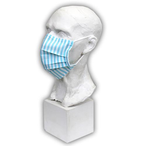 Babyrenka Bavlněná rouška na gumu s drátkem a kapsou na filtr 18x10 cm Stripes tyrkys BRDKG-ST