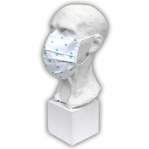 Babyrenka Bavlněná rouška na gumu s drátkem a kapsou na filtr 18x10 cm Hvězdy mint BRDKG-HVMINT