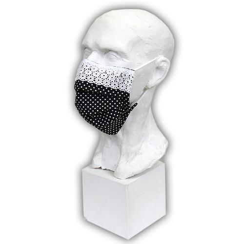Babyrenka Bavlněná rouška na gumu s drátkem a krajkou 18x10 cm Dots black BRDKG-KDB