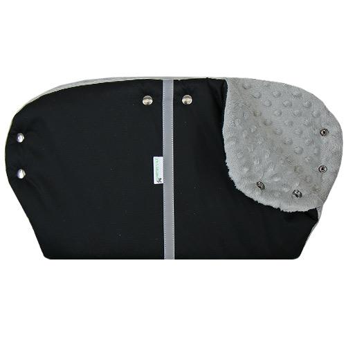 Babyrenka rukávník simple Thule Softshell black Minky grey ZRSST-BMG265