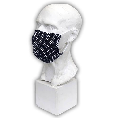 Babyrenka Bavlněná rouška na gumu s drátkem a kapsou na filtr 18x10 cm Dots black BRDKG-DOTSBL