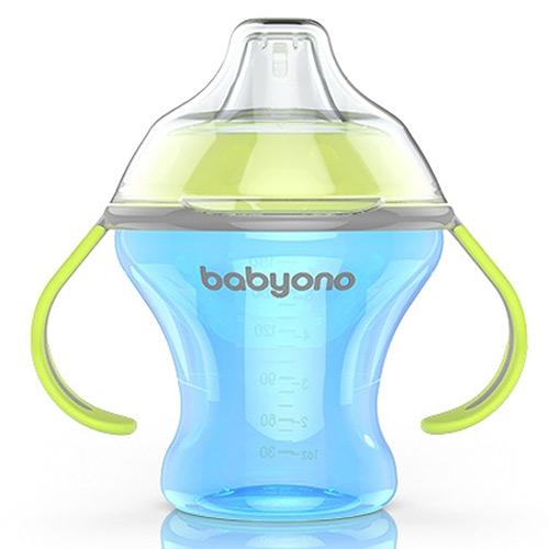 Baby Ono hrnek Natural Nursing netekoucí 180ml 3m+ modrý 1456M