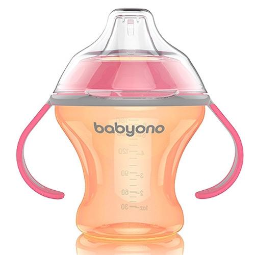 Baby Ono hrnek Natural Nursing netekoucí 180ml 3m+ oranžový 1456O