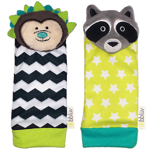 BBLÜV Düo Chrastítka na nohu Hedgehog & Racoon 39492