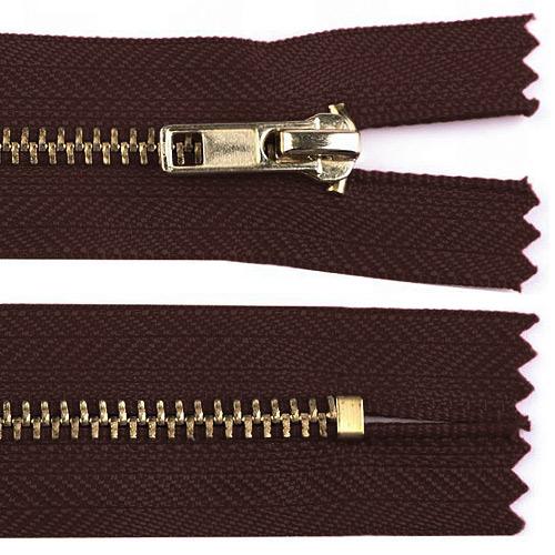 Zip kovový nedělitelný 18 cm tmavě hnědý ZKON18TH