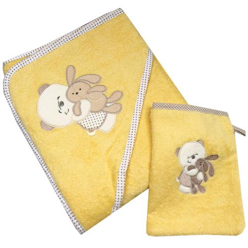 Dekoratex osuška s kapucí froté 100x100 cm s žínkou žlutá medvěd DEK100-ZM