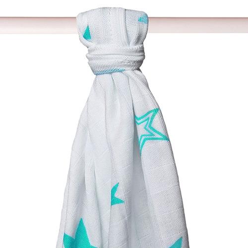 Xkko bambusová osuška 90x100 cm Turquoise Stars BMB090036