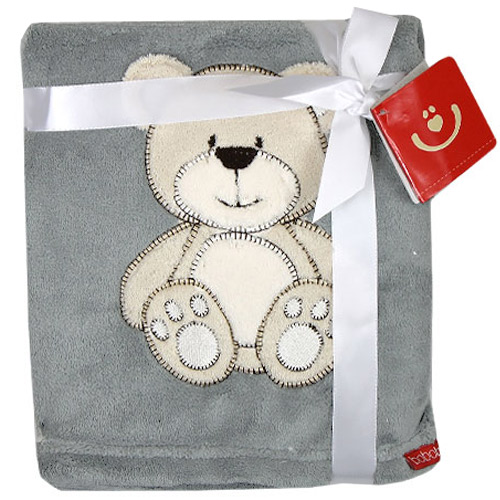 Bobobaby dětská deka 76x102 cm Medvídek šedá KCSN08MS