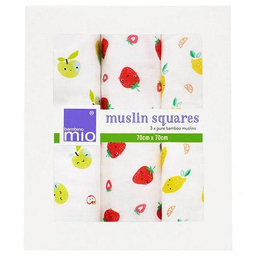 Bambino Mio plena mušelínová 70x70 cm 3 ks Cute Fruit SQ3P FRU