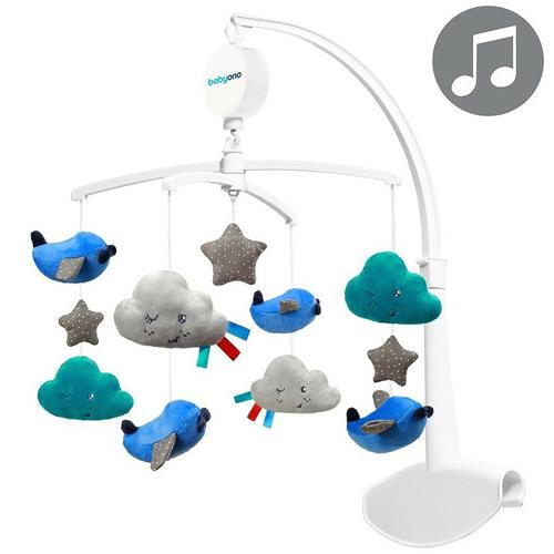 Baby Ono kolotoč na postýlku Clouds and Birds modrý 626