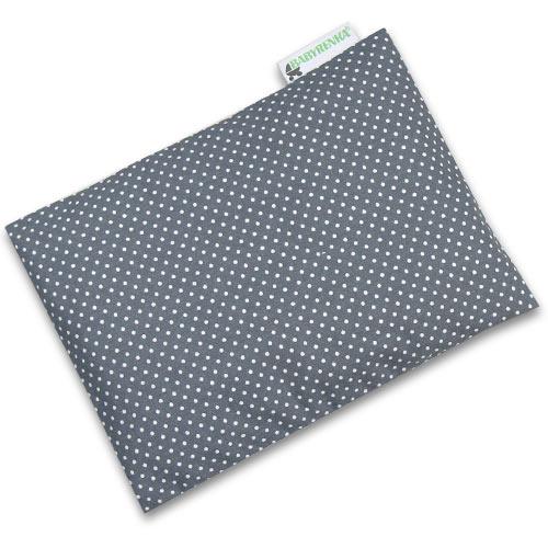 Babyrenka nahřívací polštářek z pohankových slupek s povlakem 20x14 cm Dots grey PPPDG65
