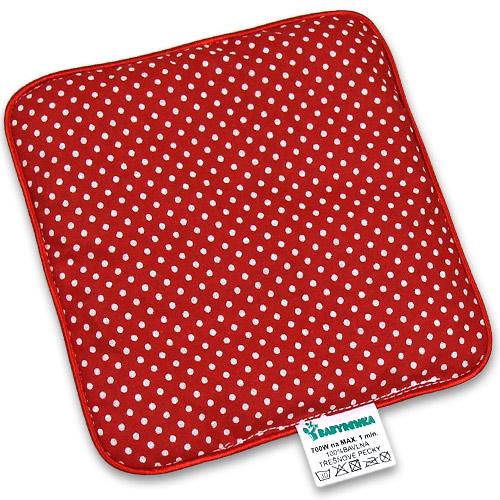 Nahřívací polštářek z třešňových pecek Ribbon 15x15 cm Dots red PTPRDR