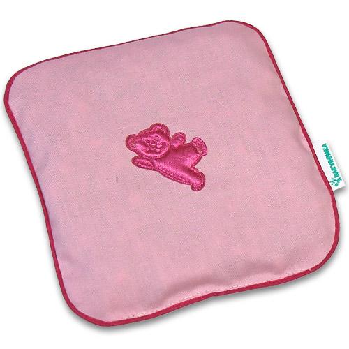 Nahřívací polštářek z třešňových pecek Ribbon 15x15 cm Bear pink PTPRBP