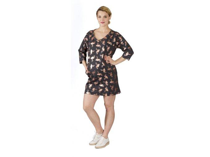Těhotenské šaty Rialto Lage s motivem plameňáků 0560 (Dámská velikost 36)