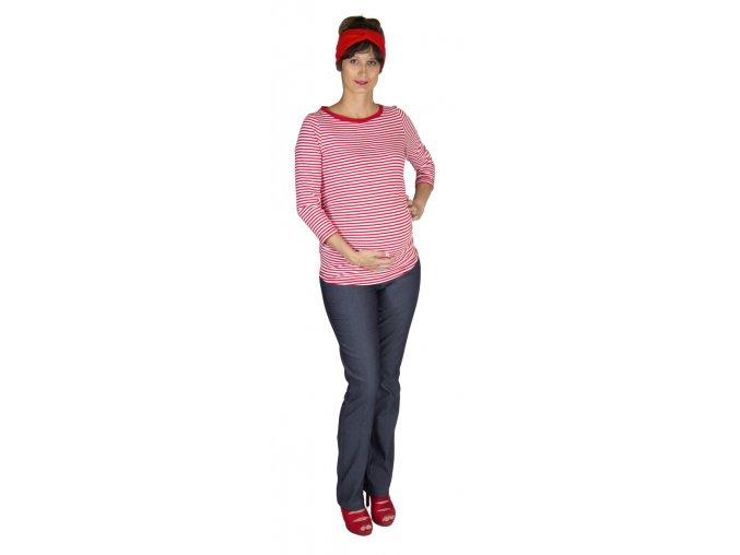 Těhotenské bavlněné tričko Rialto Rottie červený pruh 0588 (Dámská velikost 34)