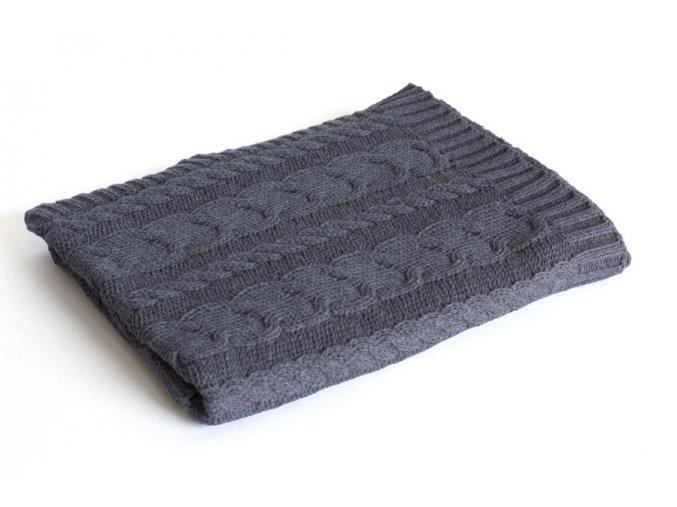 Pletená deka bavlna, Denim, copánky, Rialto Baby