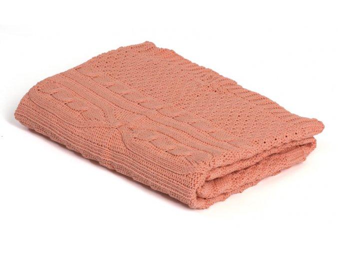 Pletená deka bavlna,růžová,romantik, Rialto Baby