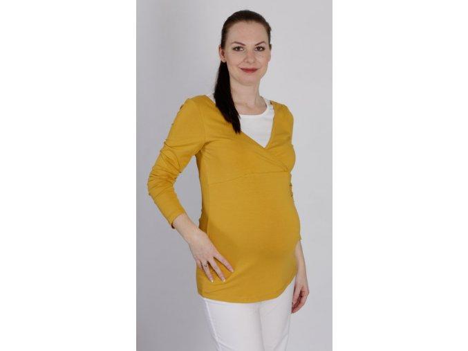 Těhotenské a kojící tričko Rialto Delft žluté 0423 (Dámská velikost 36)