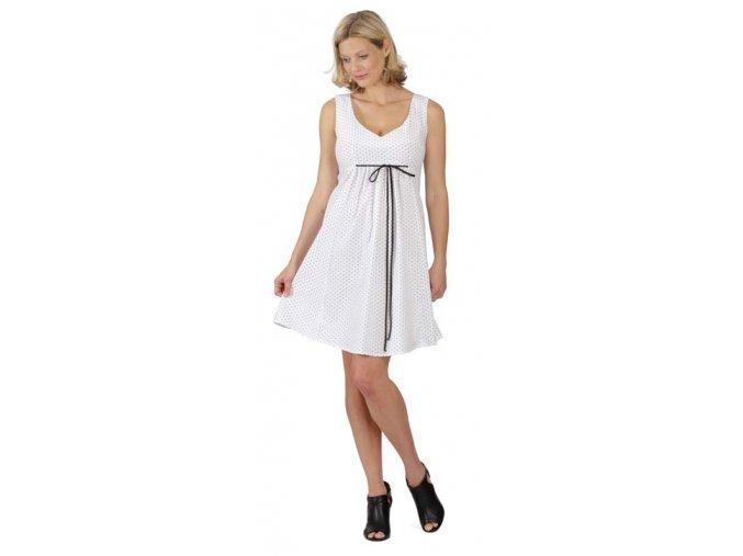 Bílé těhotenské šaty s jemným černým puntíkem