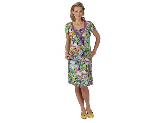 Těhotenské a kojící tričko Rialto DUN fialové květy 0437 (Dámská velikost 44)