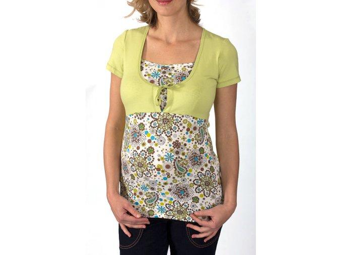 Těhotenské a kojící tričko Rialto Duvy zelená tisk 0184 (Dámská velikost 36)