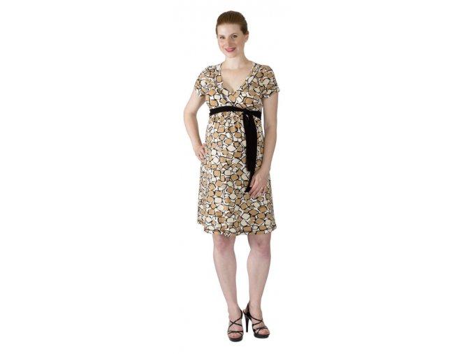 Těhotenské a kojící šaty Rialto Larochette černohnědobílá 7693 (Dámská velikost 38)