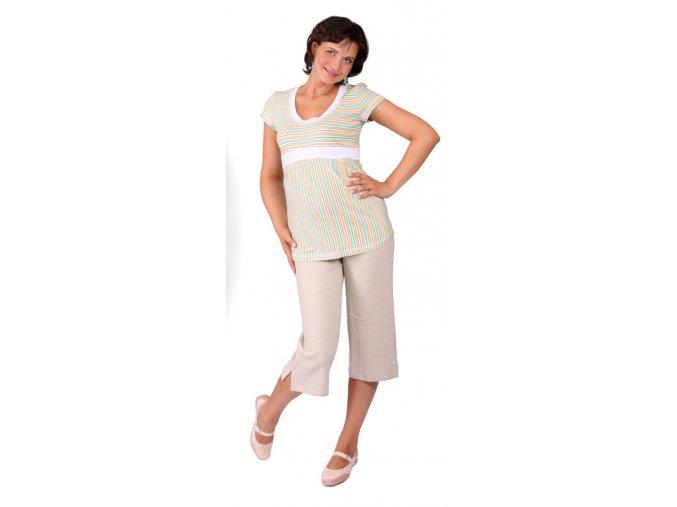 Těhotenské 3/4 lněné kalhoty Rialto Verghia režná 01242 (Dámská velikost 40)