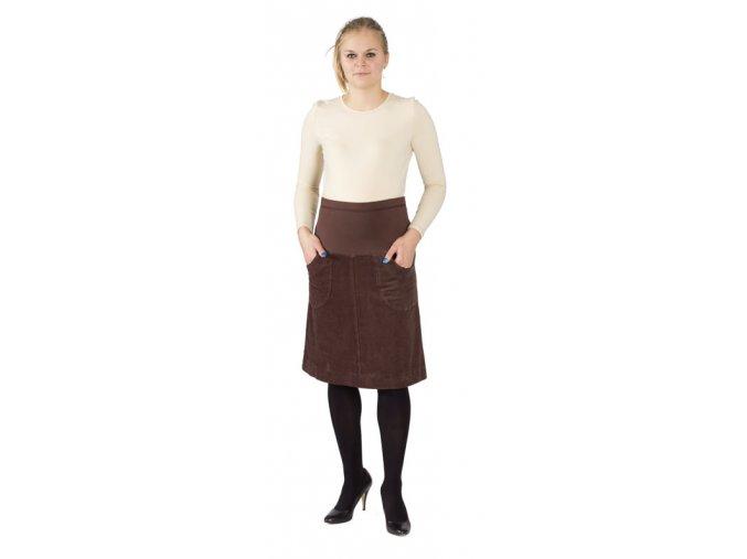 Těhotenská manžestrová sukně Rialto Barcin tmavě hnědá 19136