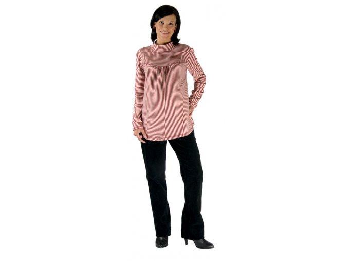 Těhotenské tričko Rialto Remy červeno-béžový pruh 0157 (Dámská velikost 36)