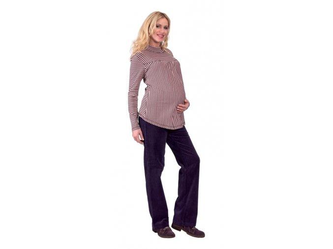 Těhotenské tričko Rialto Remy růžovo-hnědý pruh 0158 (Dámská velikost 36)