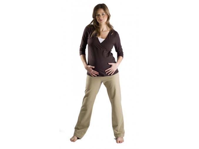Těhotenské a kojicí tričko Rialto Devin hnědá 0227 (Dámská velikost 42)