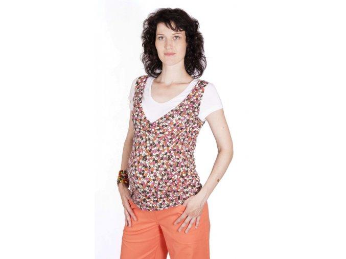Těhotenské a kojicí tričko Rialto Dommery růžový puntík 0257 (Dámská velikost 36)