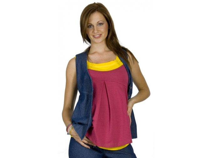 Elegantní riflová těhotenská vesta se zapínáním na knoflíky.