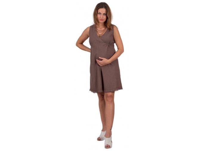 Těhotenské šaty Rialto Lille lněné hnědé 01246 (Dámská velikost 38)