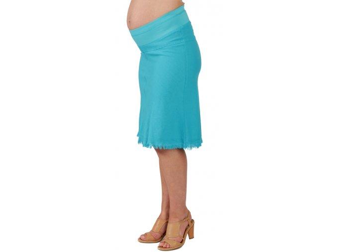 Těhotenská sukně Rialto Sanem lněná tyrkysová 01247