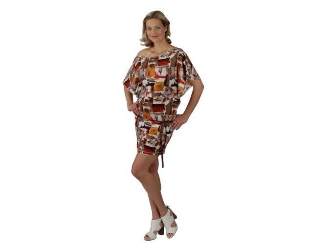 Těhotenské šaty Rialto Loupy hnědorezavý potisk 0294 (Dámská velikost 36)