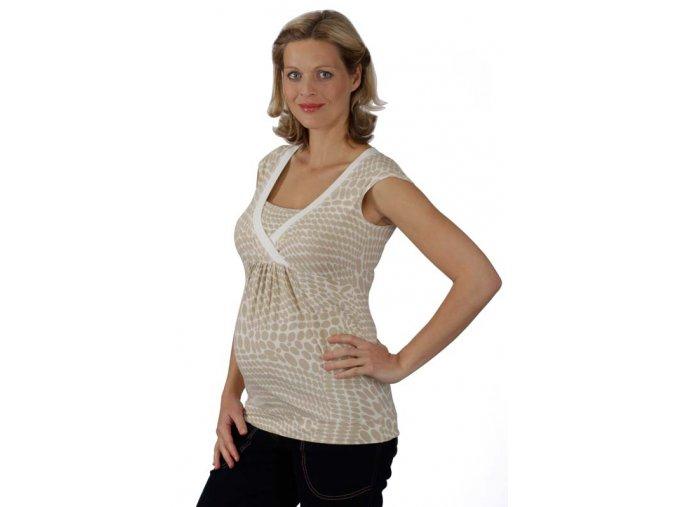 Těhotenské a kojicí tričko Rialto Dery béžová kolečka 7870 (Dámská velikost 36)