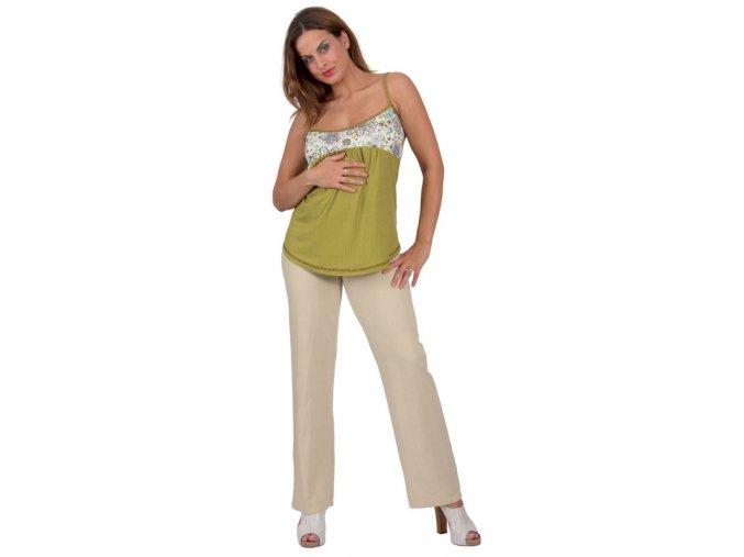Těhotenské kalhoty Rialto Chicio lněné béžové 01242 (Dámská velikost 38)